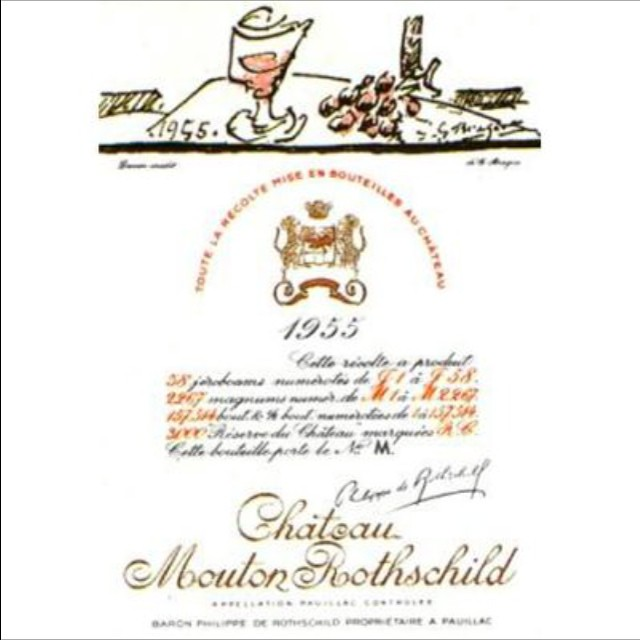 Mouton Rothschild label 1955