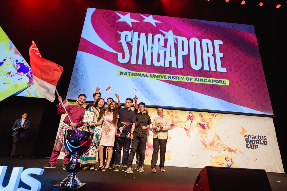 Team Singapore receiving the award for 3rd placement in the Opening Round of the competition