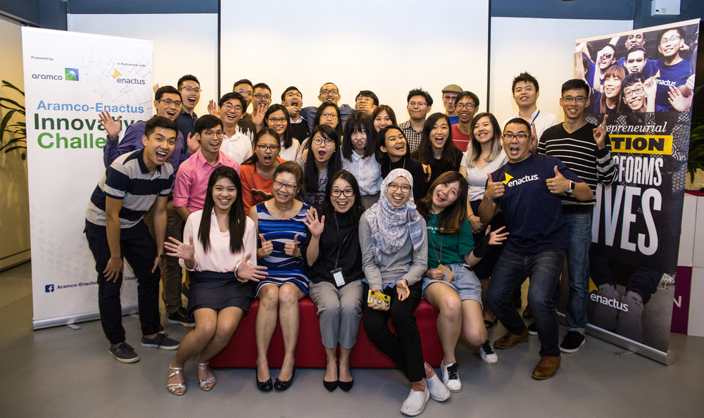 With all the participants at the Aramco Enactus Innovative Challenge (SG) Pitch Night to determine the five teams competing in the Singapore Finals