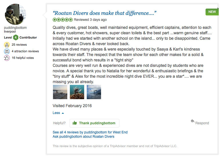 Roatan Divers TripAdvisor review LM