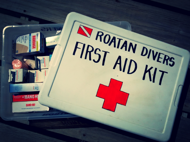 A great first aid kit for at home, but maybe too big for on the go, and certainly not necessary for Roatan!