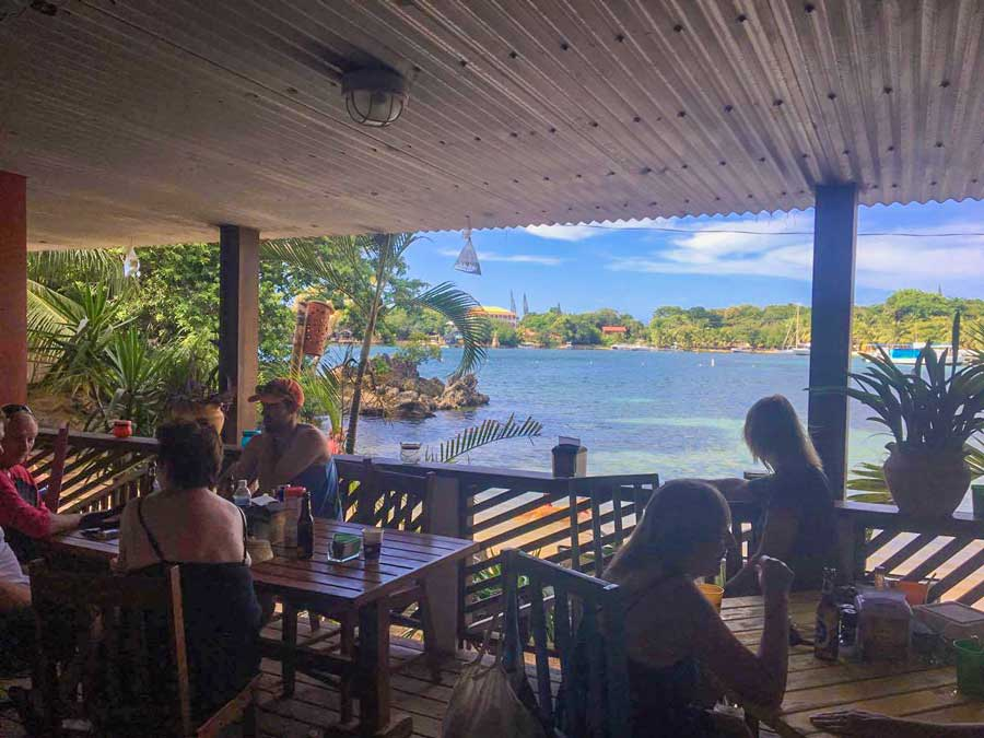 The view from Ginger's Caribbean Grill, across the beach from Roatan Divers