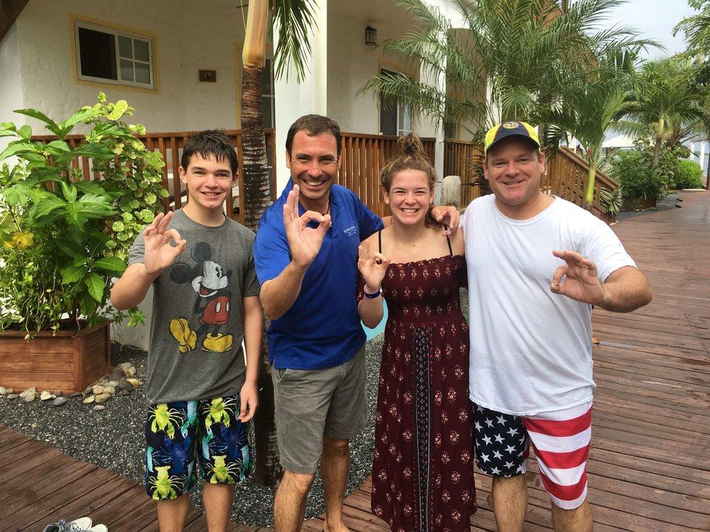 Stone, Martha, and Brian tried scuba diving