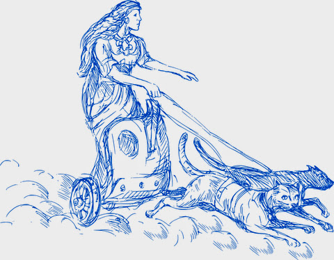 The Norse goddess Freya in her chariot pulled by two blue cats named Bygul and Trjegul.   ©  Patrimonio  |  Dreamstime.com  -  FreyaNorse Goddess Photo