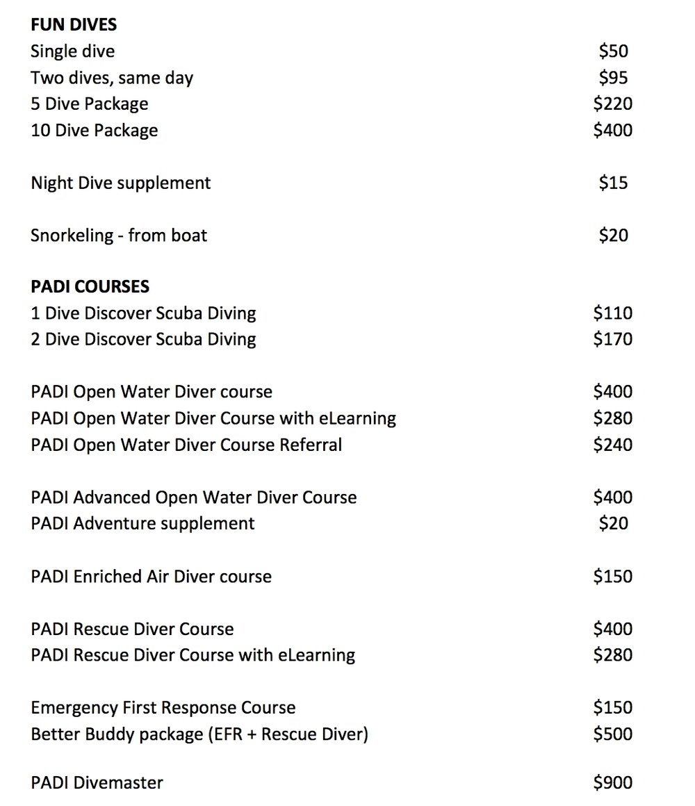 Price list Roatan Divers