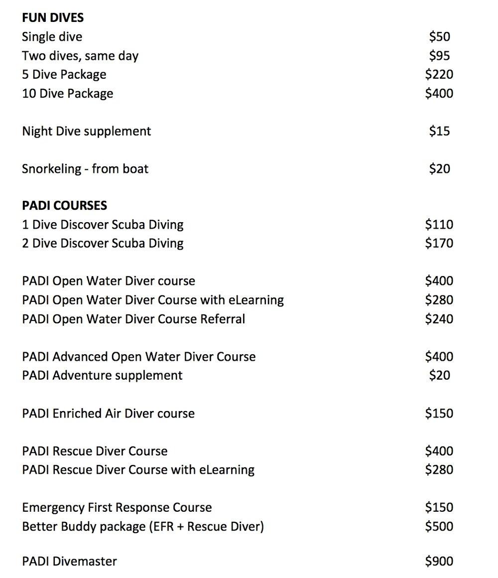 Price list Roatan Divers