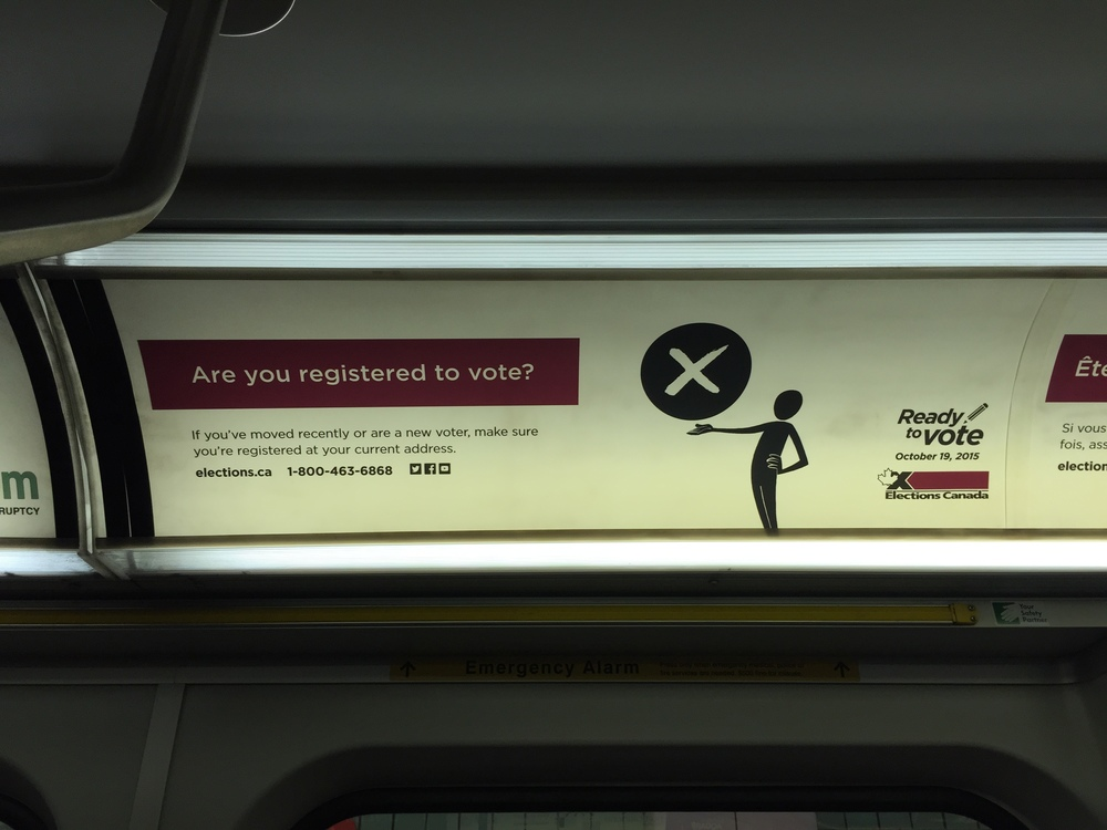 Elections Canada's advertisement on a subway in Toronto