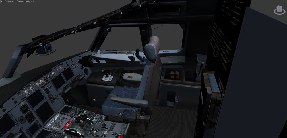 Detailed A320 cockpit graphic