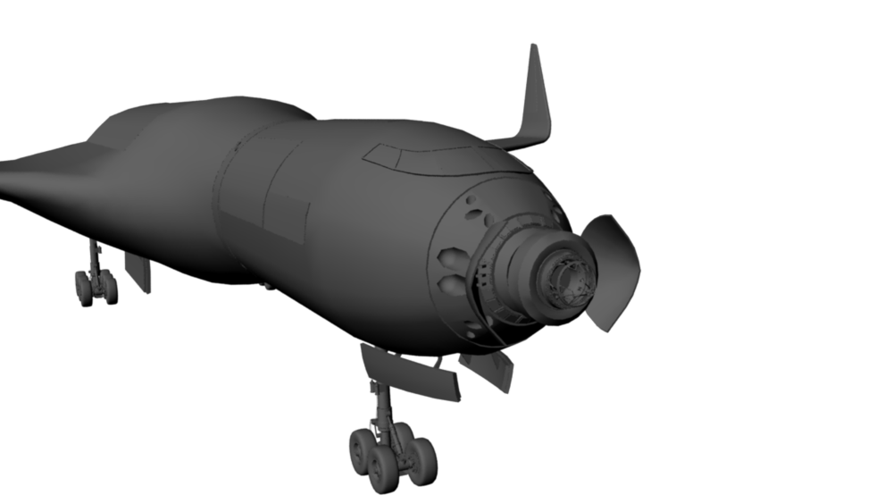 Example built around a cockpit centric vehicle.  Once in orbit the lifting body and equipment bay would be able to separate from the static platform (Mission Module ) and the cockpit motion platform.  (Early concept model).