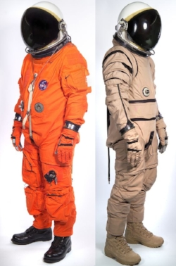 NASA ACES suit side by side with US military high altitude suit.