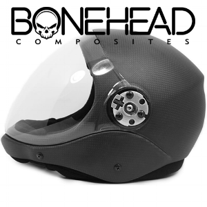 The Aero Bonehead Skydiving helmet lends itself very well  to VPACC's needs.  Visit Boneheads Composites website.