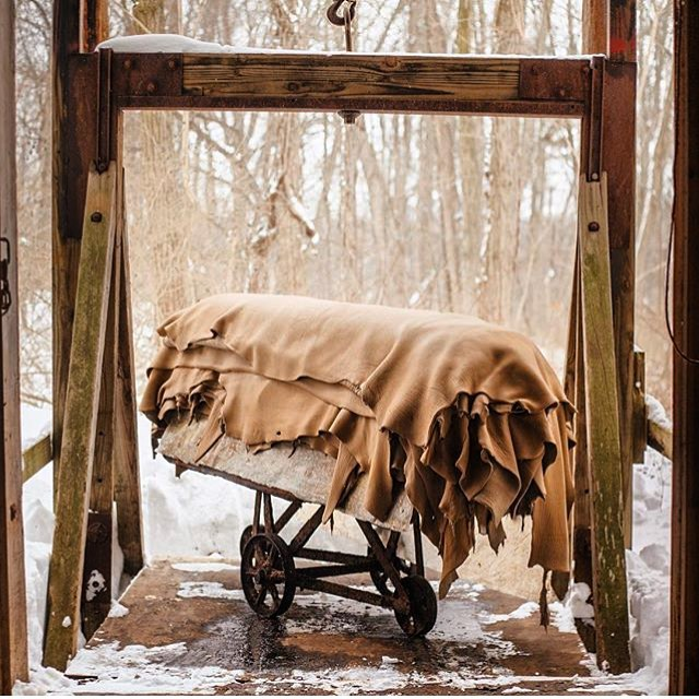 Repost from our family tannery @pergamenany. Cow hides from New York cows, tanned in New York. We have our hands on the leather from start to finish.