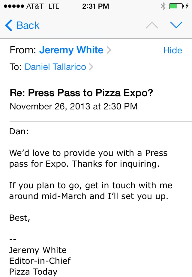 I've hit my stride as a pizza journalist. See ya in Vegas!