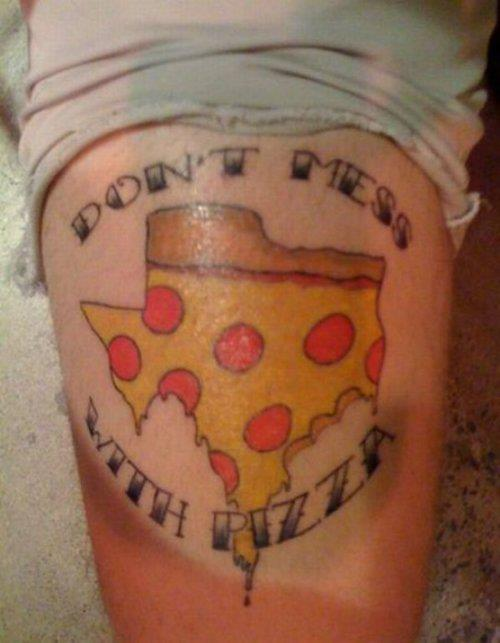This is that tattoo I'm telling everyone I'm getting this weekend. When you first start reading the text you're thinking it's going to be the same greasy statement made about Texas day in and day out. But no, there's a slippery turn and you smack face first into a bulging bicep and a rebellious pizza. Really epitomizes the true strength, durability, and independence of pizza.