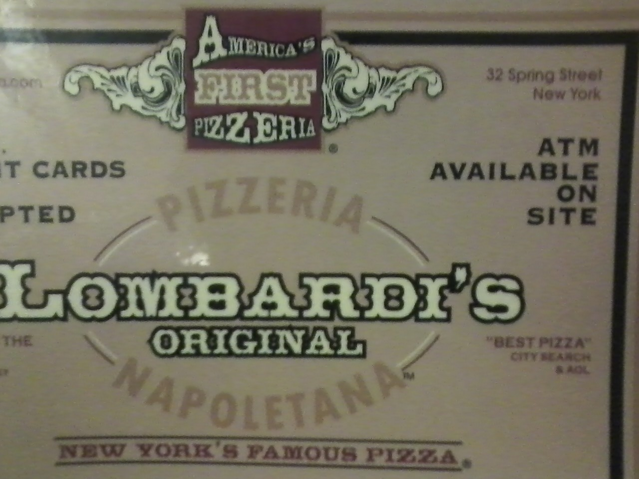 America's First Pizzeria, as seen in NYC by my Pizza Pal, Adam.