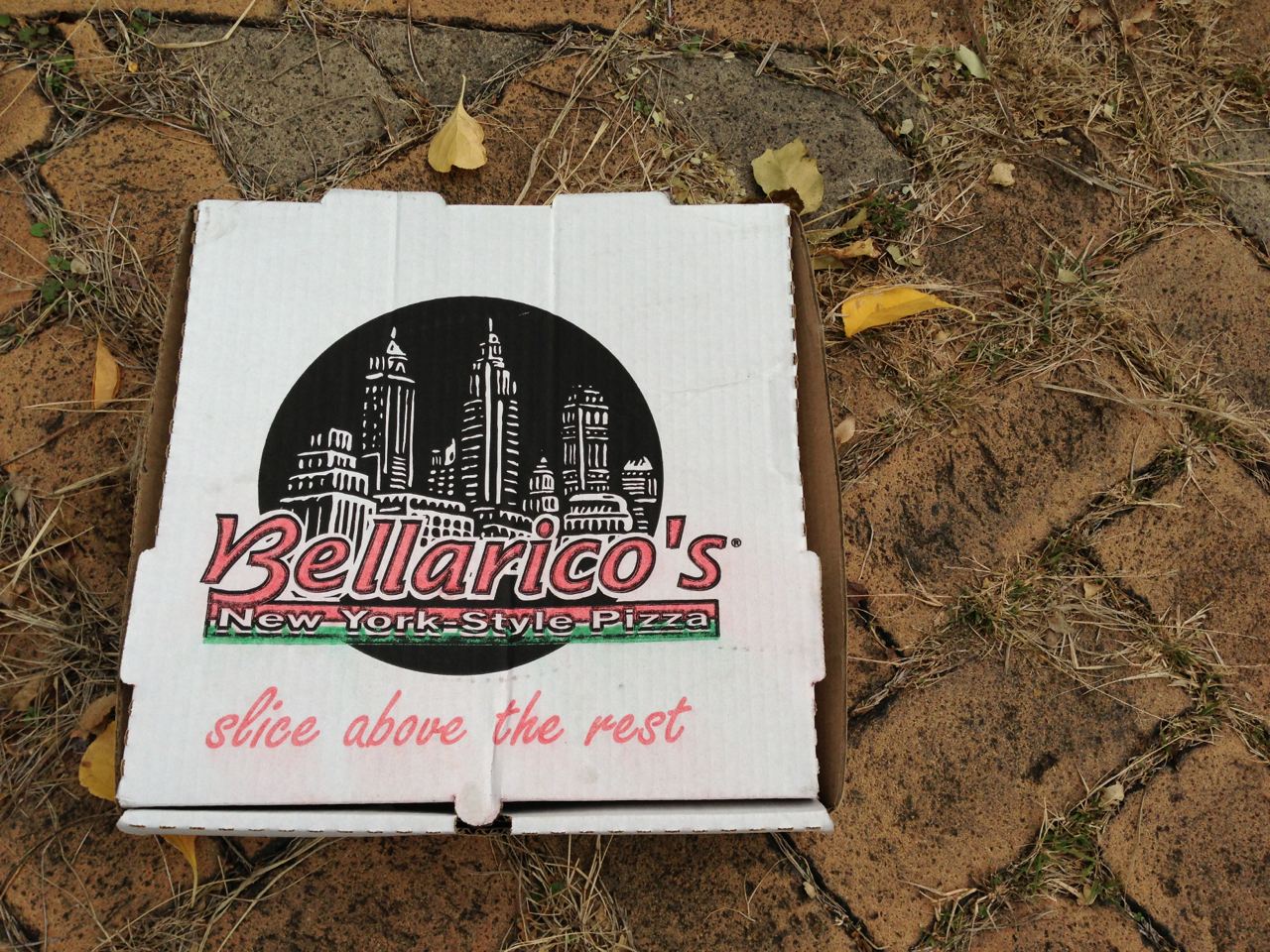 Found this box of pizza while I was out on a delicious Fall walk. There it was, abandoned in some alleyway like a victim on SVU. Would the police be summoned? Who would fight for justice?    The weird thing about this box is that I've never heard of Bellarico's pizza. Never mind that my last name is eerily similar and there doesn't seem to be a Bellarico's in Pittsburgh. Maybe this pizza box was sent back in time to guide me along my pizza journey?