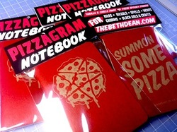 Pizza Notebooks! They're a bit spookier than regular notebooks, but when you infuse pizza into papyrus that's one of the side effects. It's times like these I wish I knew more about the dark arts of pizza. What will I be using my Pizzagram Notebooks for? Duh: Writing down pizza recipes. Writing down pizza fan fiction. Writing letters to POTUS asking him to promote pizza civil rights. Using the paper as a crust for a Papyrus Pizza. Writing down cryptic pizza riddles to leave behind upon my death. The riddles will all be pieced together to reveal my hidden underground Pizza Palace that I've been constructing in secret for years. That's about it. I'm not sure there's much more you can do with them, but maybe you have better ideas than I do?  If you're interested  in pizza paraphernalia check out Beth Dean's store. She's really revolutionizing pizza goodies.