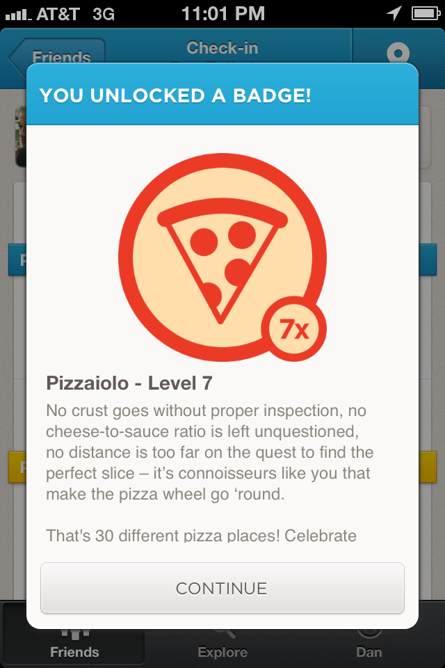 One of the perks of suffering through Delaware-crafted pizza was this foursquare badge.