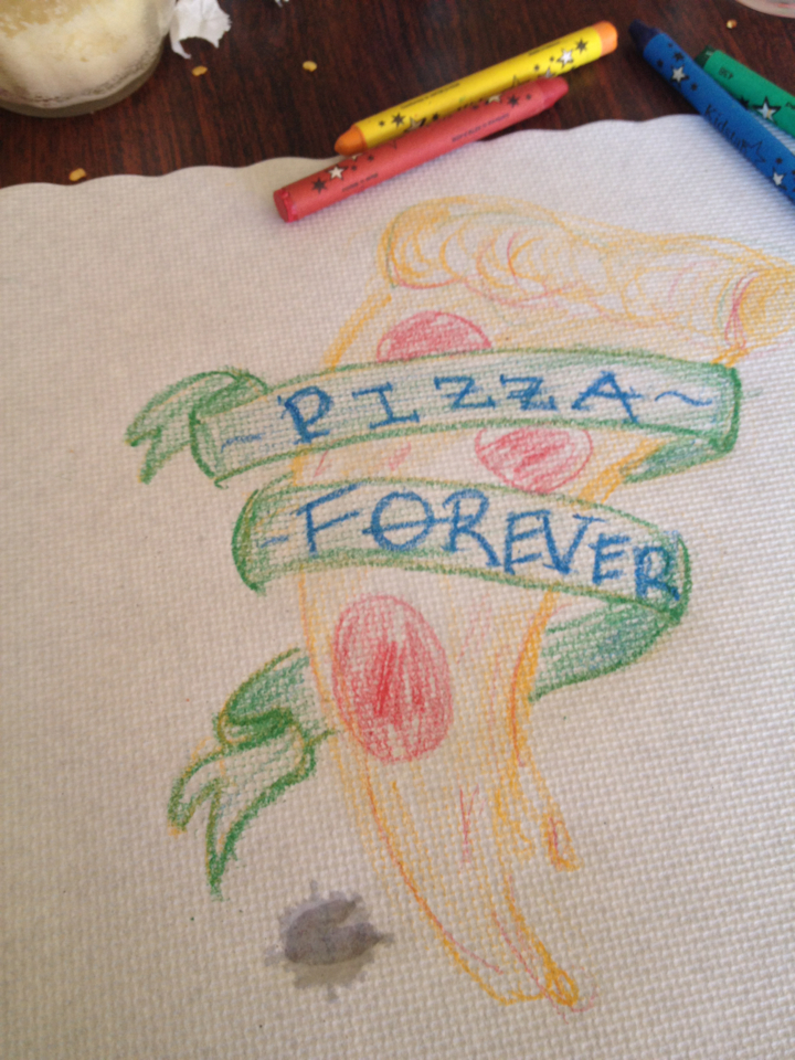 Barbed wire tattoos may be cliche now, but when I get this drawing tattooed on me that will all change. Under age kids will see how cool it is to have a slice on their arm/ankle and they'll go bananas tattooing this on one another. I'm going to tag this as pizza trendsetter.     baconfetti :     I hope they put mine on the wall with all the shitty kids drawings  Yeah I just ate pizza alone ok