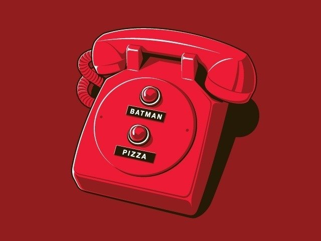 To the pizza phone! Imagine the shock when you think you've ordered pizza, but Batman shows up. Without a pizza. I've never hated Batman more than I do right now. That wingless, pizzaless man.     blkdmds :     My kind of phone.