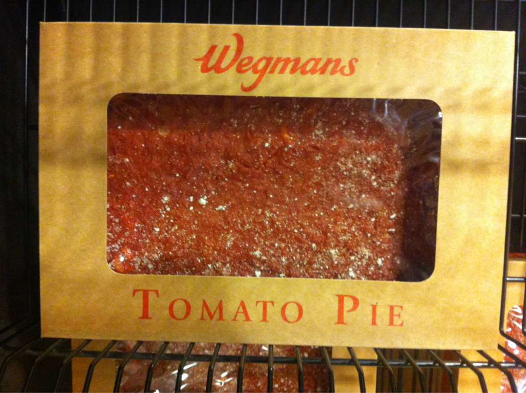 I was astonished to the lengths that the grocery stores on the east coast go to put a pizza in your cart. Wegman's (one such grocery haven) had an entire display dedicated to tomato pie. I'll write more on the practice later, but I'm both impressed and aghast.     This Wegman's had a restaurant in it which kind of defeats the point of a grocery store.