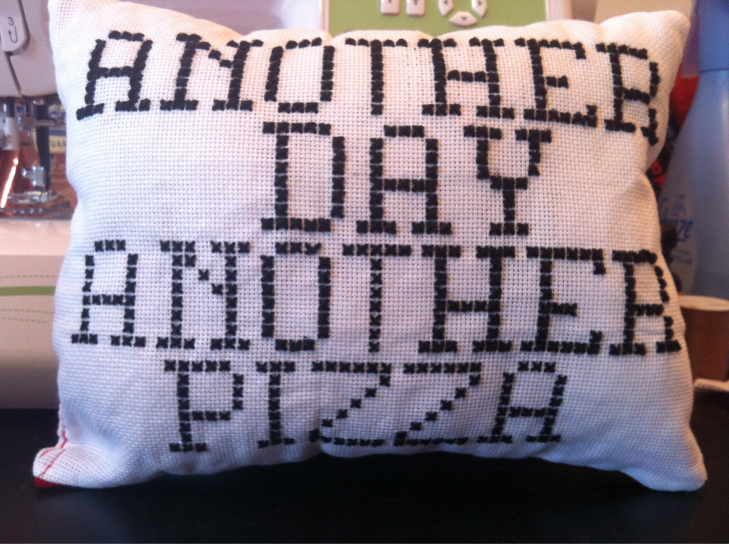 extremelymisc: Crafts for @msbossynopants and for @woozle… keirr: I cross stitched this pillow as a Christmas present.