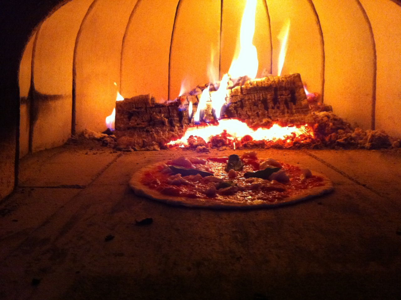 Pizza hibernating in a brick oven. Christa, my partner in pizza, has a father who has embraced his Italian heritage like Hootie has embraced a colony of Blowfish. Christa's father, on his endless journey to become Pittsburgh's unofficial little Italy, had a brick oven pizza in his backyard. Yes, right next to his bocci court.  We had a pizza party last week and I had the opportunity to use the brick oven to create some deliciously crunchy pizza. There's something magical about a brick oven pizza that can nary be replicated in a conventional kitchen. Consider this just a teaser! I'll provide a blow by blow account later this week. In the mean time, does anyone have any bricks they want to lend me?