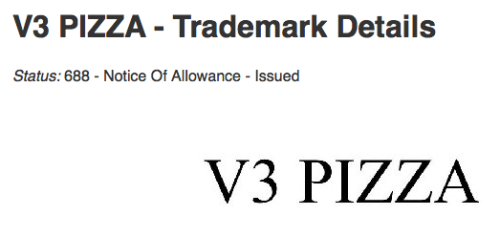 V3 Pizza Trademark
