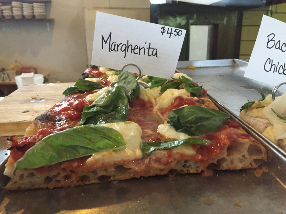 Bread & Salt's Margherita pizza. Look at that bubble structure!