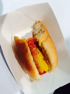 Half Eaten Hot Dog from Pizza Expo. Photo by Tom Tallarico