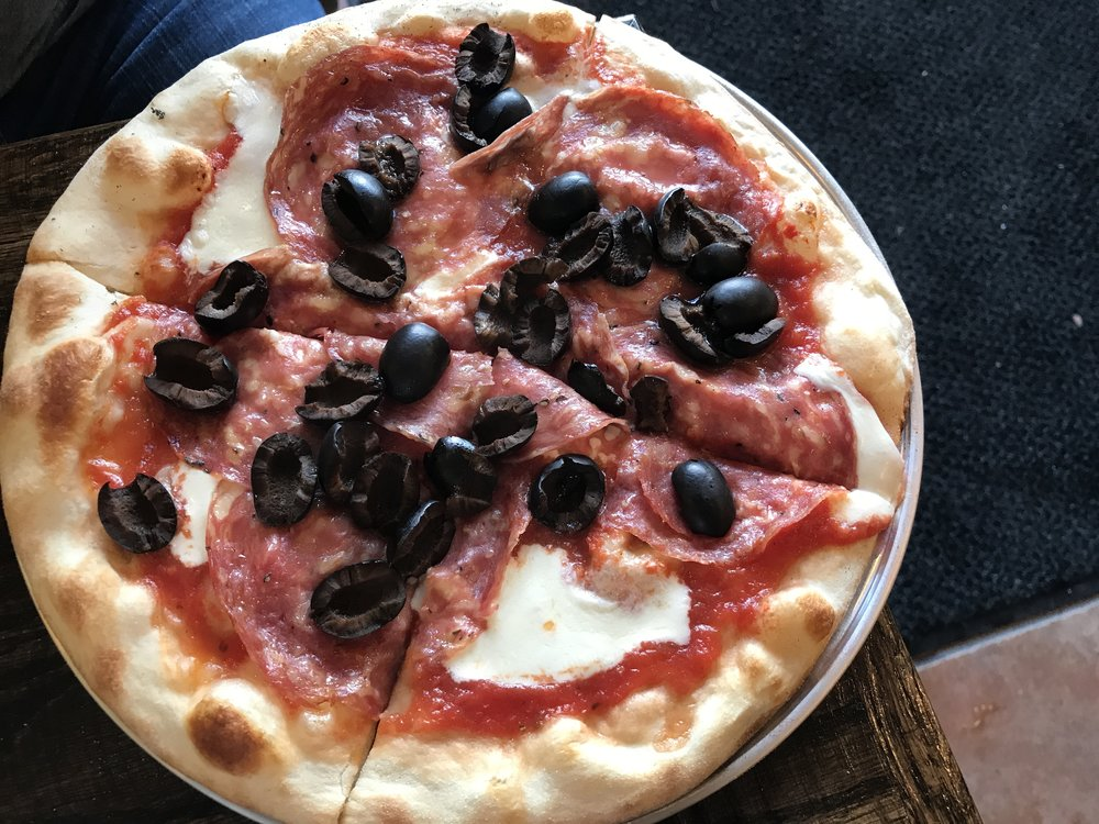 A lightly olived pizza from Piazza Talarico