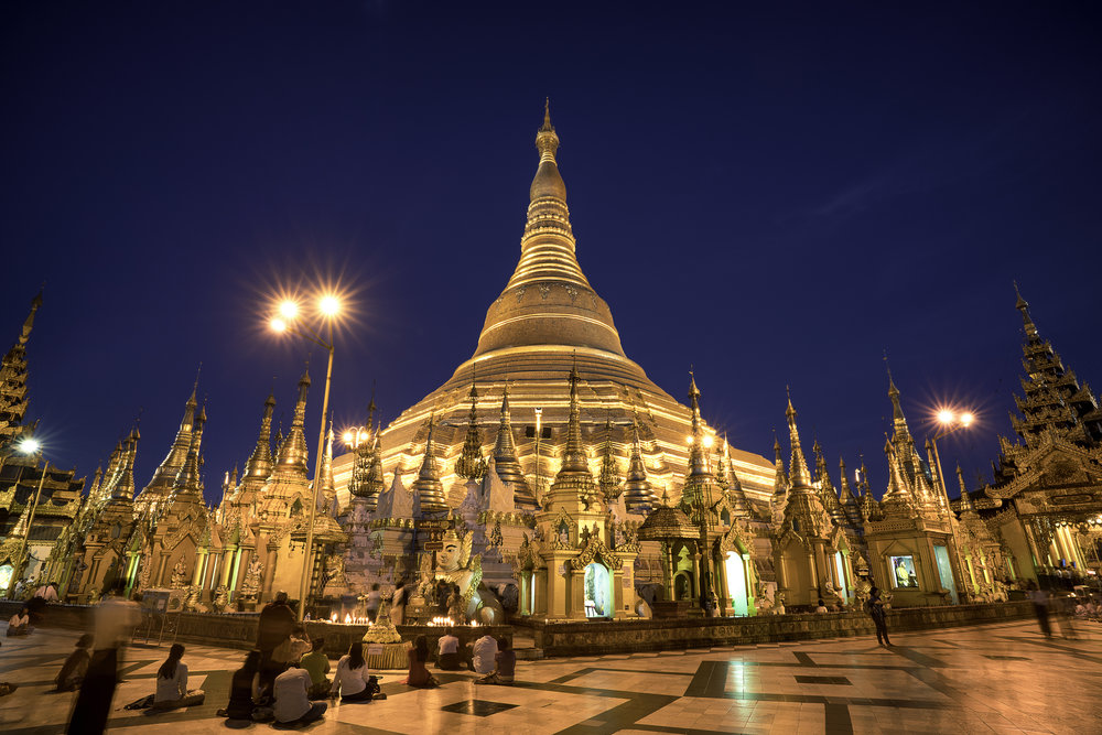 Shwedagon Pagoda at dawn.  An iconic 325ft golden Pagoda believed to be the most sacred in Myanmar.