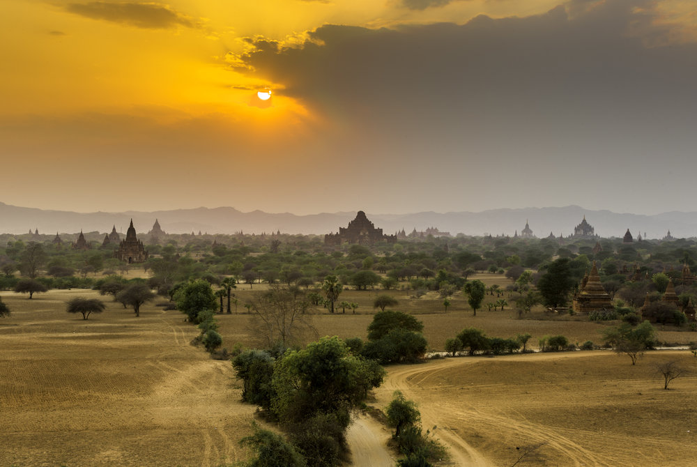 Sunset at Bagan  A beautiful ancient city with temples as far as the eyes can see.