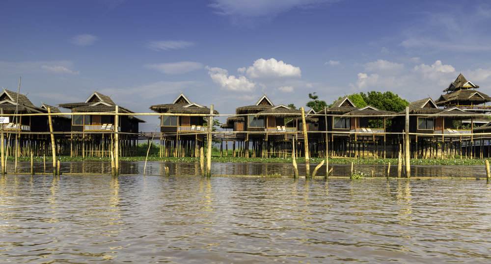 Hotel built over water.  A 4 star hotel! Whole villages are constructed over water.