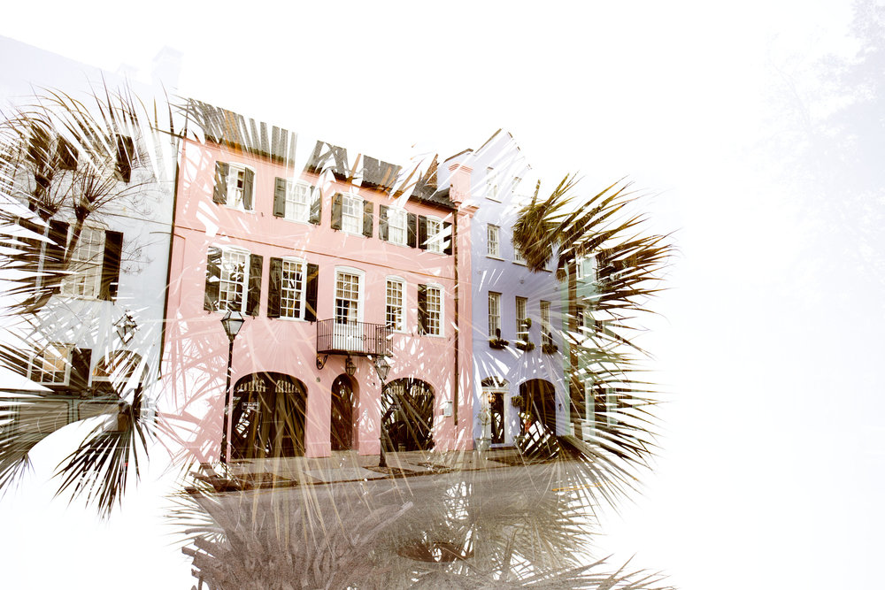 Double in-camera exposure of a palm tree on Rainbow Row. If I could summarize Charleston in one photo, this would be it.