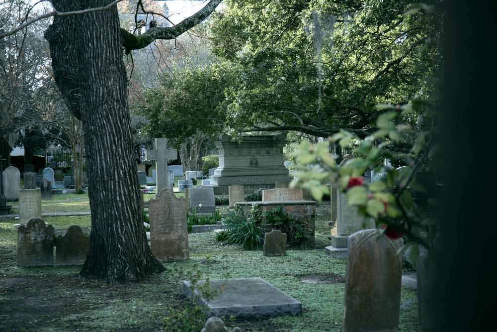A graveyard sits outside of St Philips Church. You can see Vice President Calhoun was buried here.