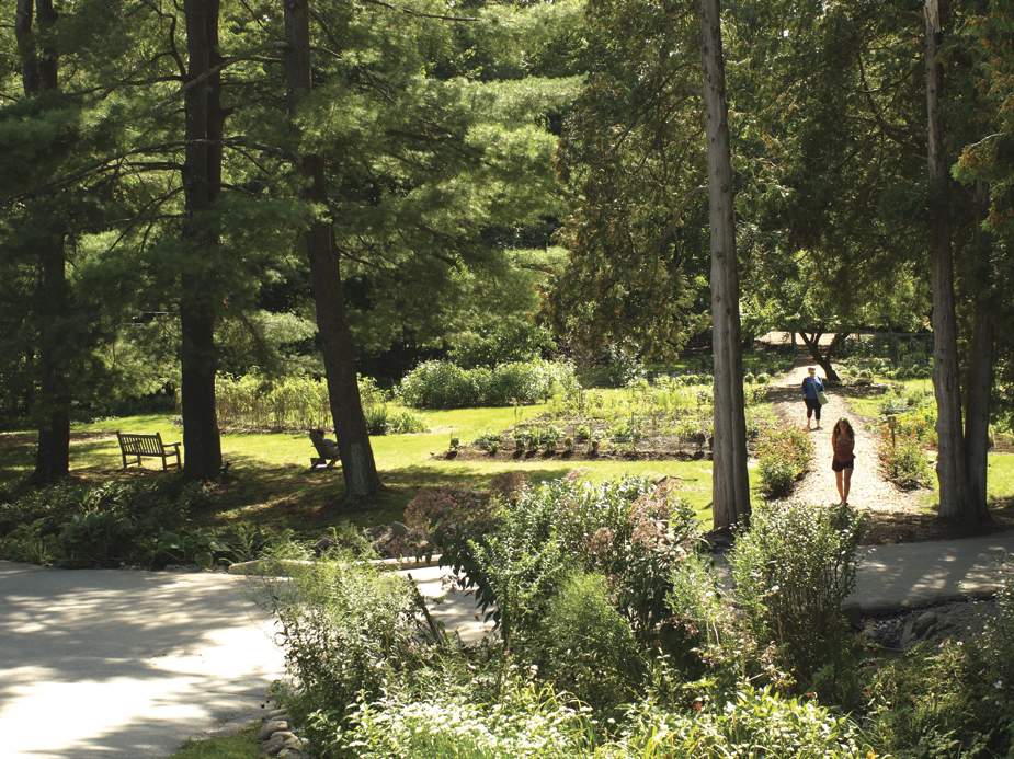 Omega's guests have access to woodland trails and gardens throughout the 250+ acre campus.