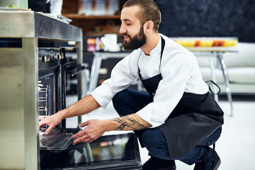 Chef, cook, tattoo, reportage, baked, man,