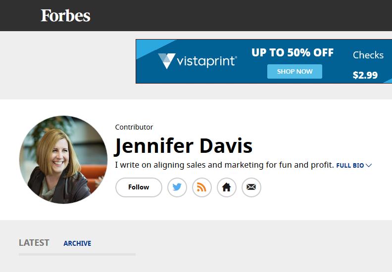 Jennifer to Contribute to Forbes — JENNIFER DAVIS