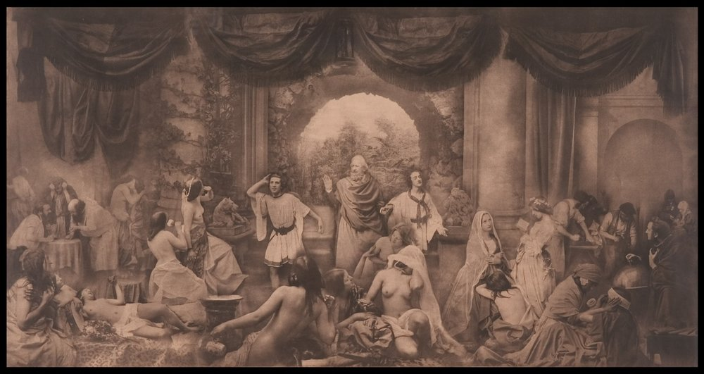 Oscar J Reijlander - The Two Ways of Life, 1857.  The Royal Photographic Society Collection at the National Media Museum, Bradford, United Kingdom.  Continuing with religion, morals, and allegorical message is the work of Oscar J Reijlander, and the most complex composite image pre-1900. Fabricated of thirty images,  The Two Ways of Life  1857, was shown at exhibit in England and Scotland, causing such controversy that left side of the image was draped due to the life-like nature of the naked female form and the clarity of cultural message to forego lascivious behavior. The size of the image, at 16x30 inches, added to the reaction from Victorians and their Golden Era morality. (Source: M Pitchard,  link .)
