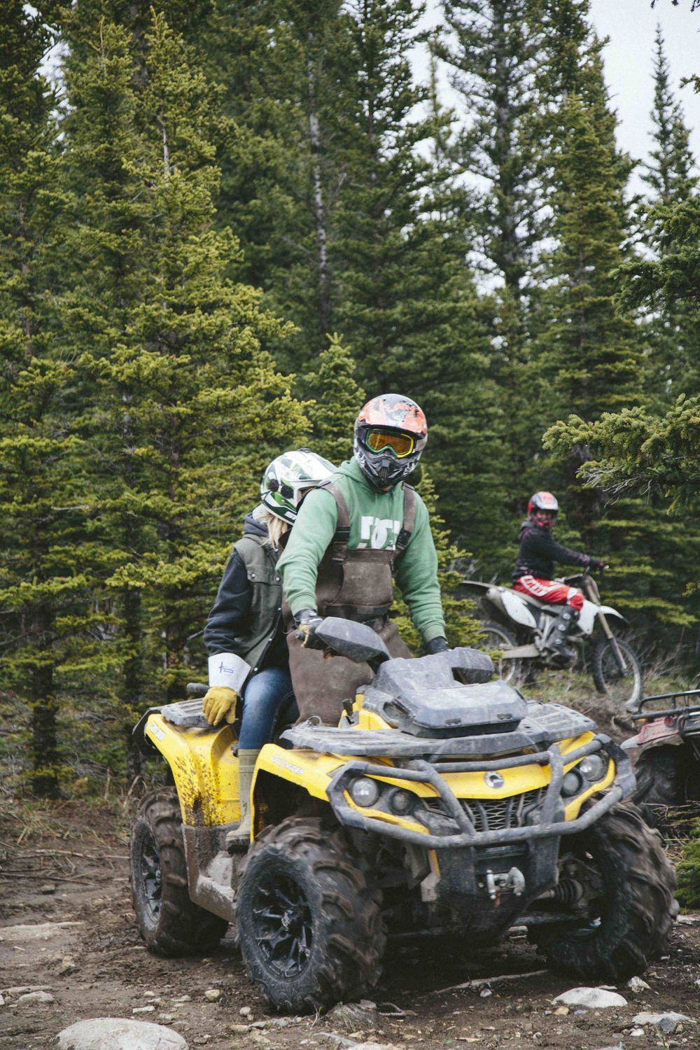 Above: Canadians on dirt bikes and quad bikes in the foothills of the Rocky Mountains, west of Calgary, Alberta.
