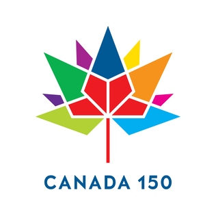 - The official emblem of Canada 150 is a series of 13 diamonds in the shape of a maple leaf, each diamond representing one of the 13 provinces and territories. The four core red diamonds represent the first four provinces of the Confederation of Canada.