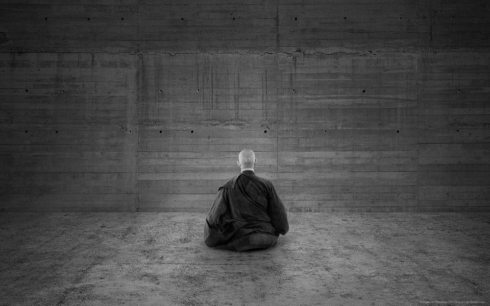 Zazen and a concrete wall