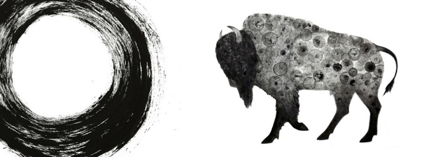 A black ink enso and a bison, covered in circles