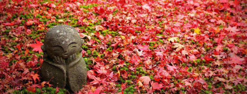 Image description: a small stone statue of Jizo Bodhisattva rests his head on his hands, he has a small smile and peaceful expression. The statue is in a field of green moss and brilliant red maple leaves.