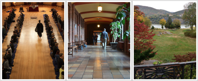 Image description: a composite image made of three images, from left to right; the first a robed figure walks between 4 long rows of seated meditators. The second a single figure walks down a long corridor lined with plants. The third image is of the ground of the Garrison Institute, a tree laden property with the Hudson River in the background and mountains beyond the river.