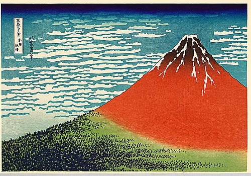 Image description: One of Hokusai'd 36 Views of Mt. Fuji showing a red Mt. Fuji.