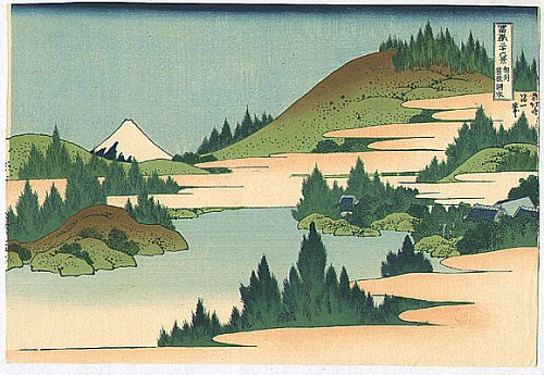 Image description: A print of one of Hokusai's 36 Views of Mt. Fuji. A pastoral scene shows grasses and trees among rolling hills, just the peak of Mt. Fuji can be seen in the distance.
