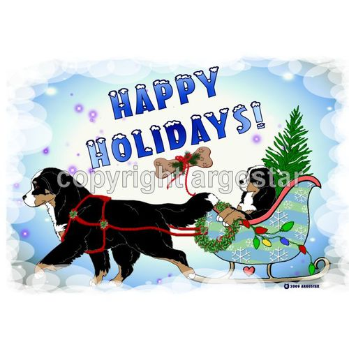 Matted Print Bernese Mountain Dog Christmas Sleigh Ride