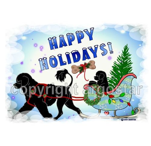 christmas cards portuguese water dog christmas sleigh ride